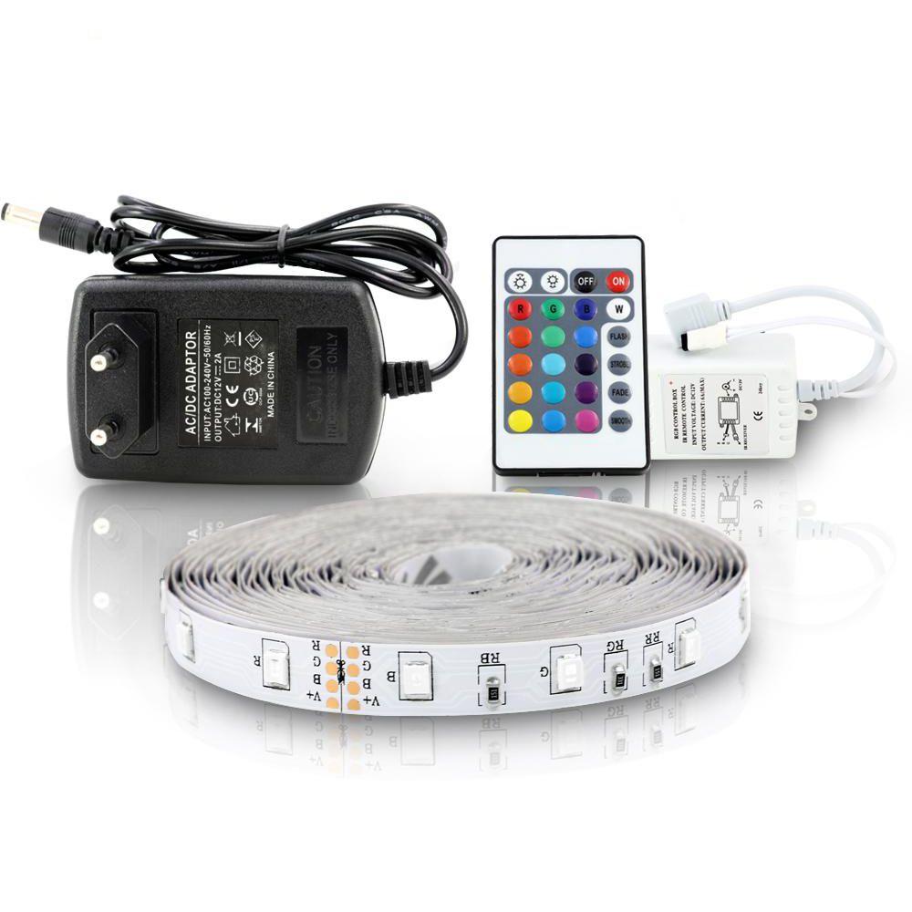 5 M 300 LEDS Su Geçirmez RGB LED Şerit Işık 3528 DC12V 60LEDS / M Esnek Aydınlatma Dize Şerit Bant Lambası Ev Dekorasyon Lambası