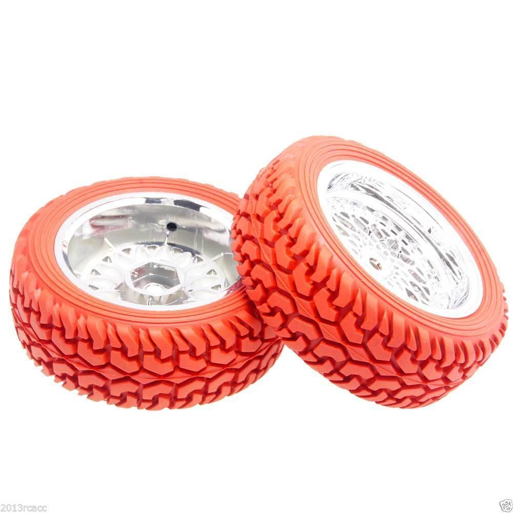 RC HSP 2084-8019 Plating Wheel & Rally Tires Red For 1:10 On-Road Rally Car