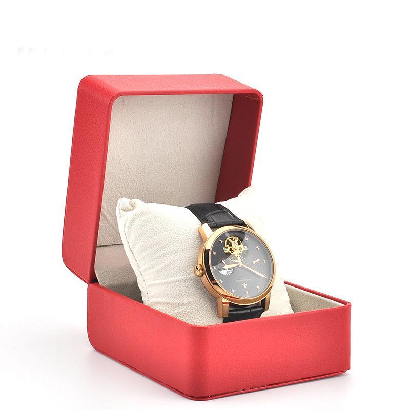 Custodia in pelle per orologio da polso con cassa in pelle e gioielli