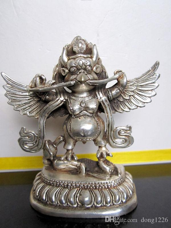 Népal bouddhiste tibétain bronze argenté statue statue de bouddha garuda