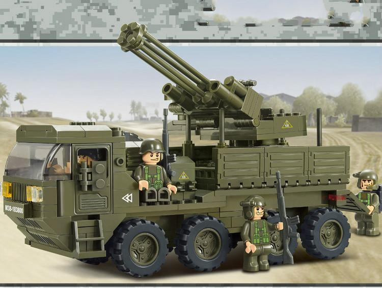 Building blocks of heavy truck to play lu army panzer corps M38 - B0302 assembling toys