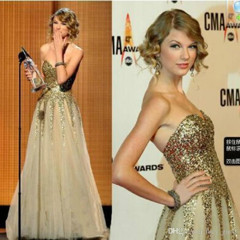 1920s Long Strapless Gold Off Shoulder Dress