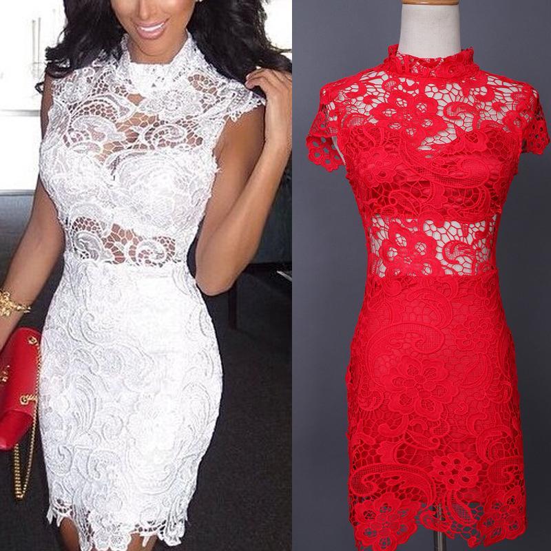 Short Sleeve Lace Midi Sexy Club Bandage Bodycon Dress Autumn White Red Black Women Elastic Elegant Party Dresses