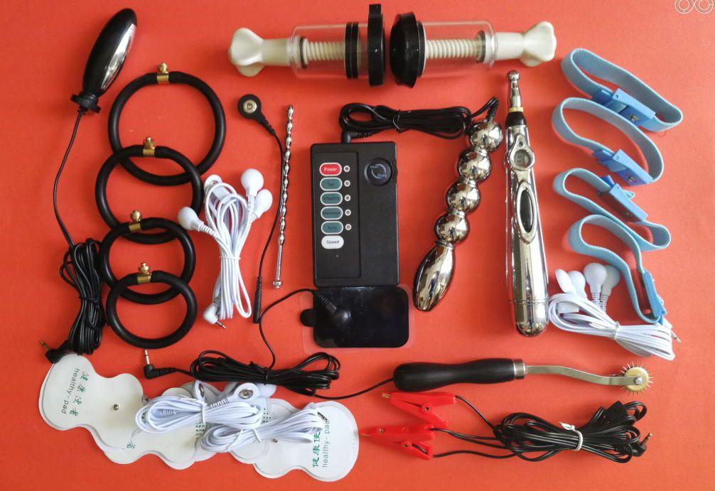 HOT Male Electro-Stimulation Gioco Sex Kit ElectroSex Gear Giocattoli del sesso Electro Pulse Shock Therapy Pene uretrale Plug Cock Ring