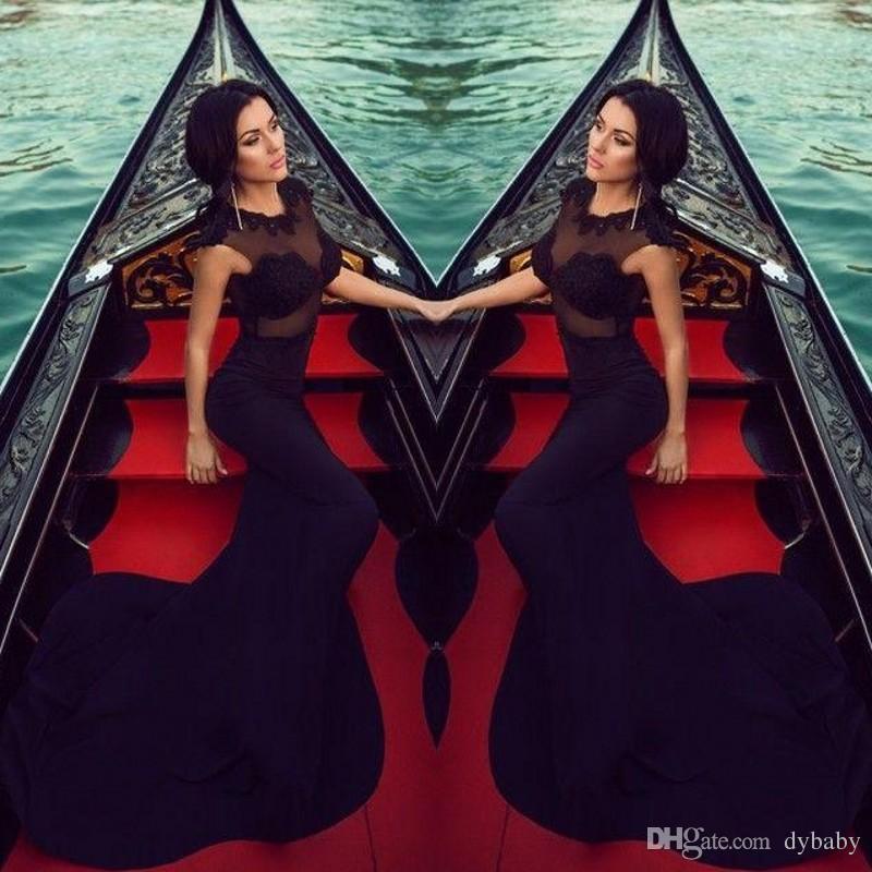 schwarzes Mädchen Ballkleider Meerjungfrau Abendkleider langes schwarzes Kleid