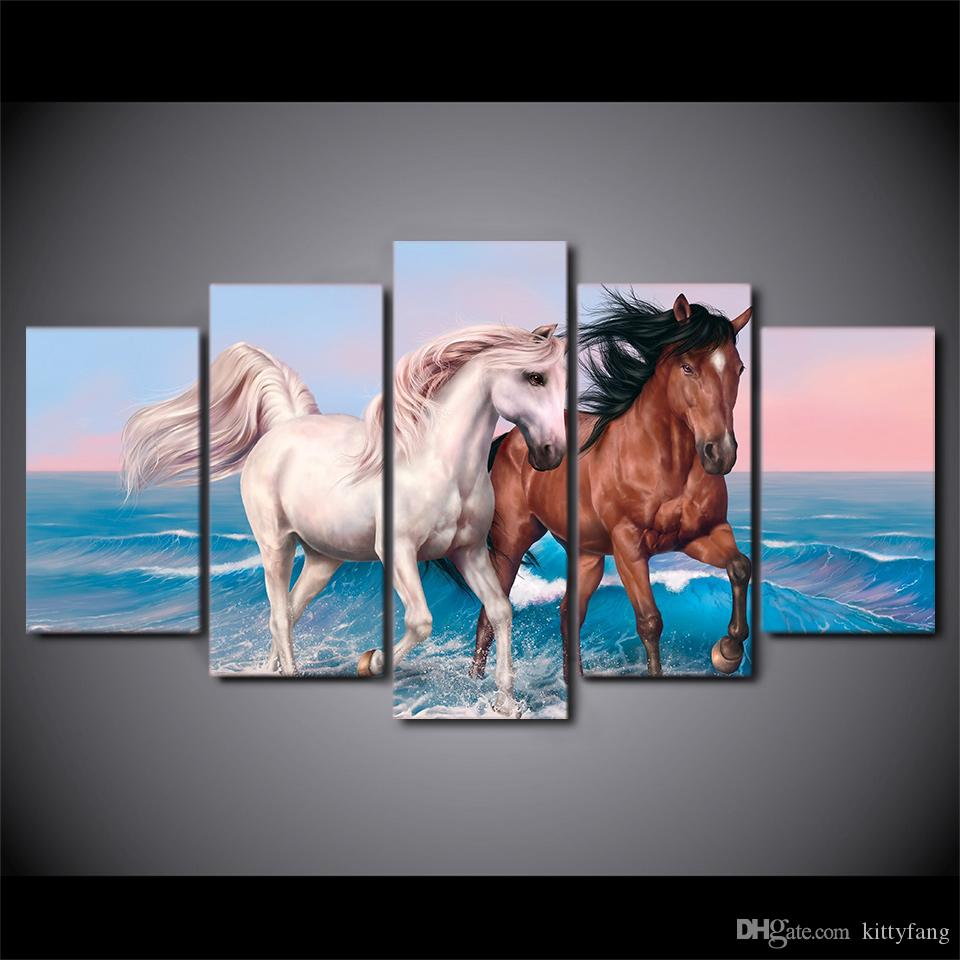 5 Pcs/Set Framed HD Printed Brown And White Horses Canvas Art Painting Poster Picture For Room Wall Decorativo