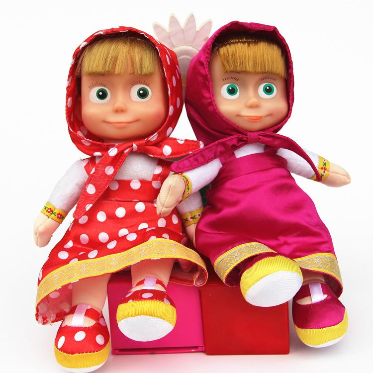 27cm Popular Masha Plush Dolls High Quality Russian Martha Marsha PP Cotton Toys Kids Briquedos Birthday Gifts