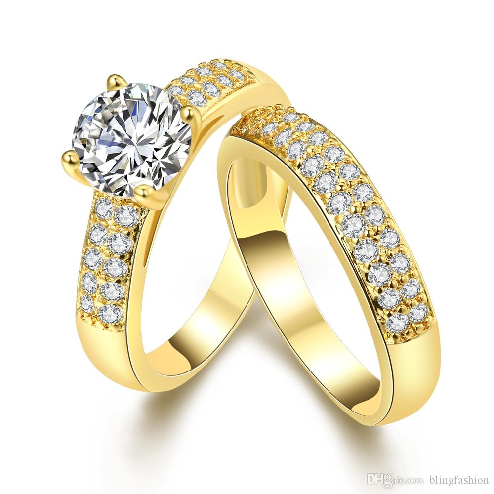 2 قطعة خاتم الزواج مجموعة اكسسوارات نسائية 18K الذهب معبأ تألق المرأة مجوهرات عيد الحب هدية الحجم 7،8،9 أزياء المشاركة