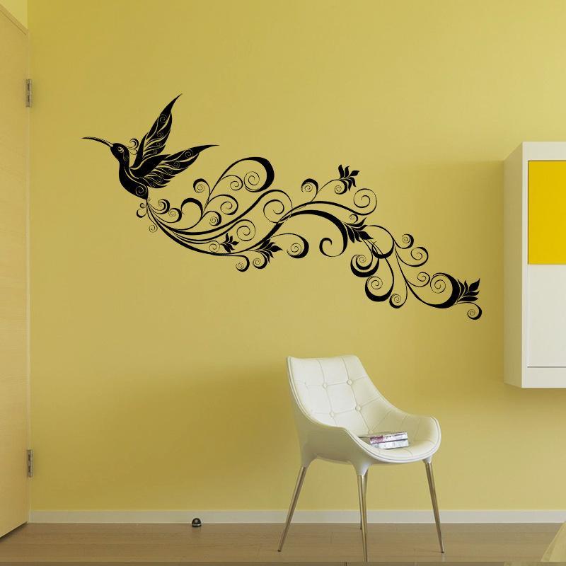 Flying Bird Silhouette Wall Sticker Modern Bedroom Tv Background ...
