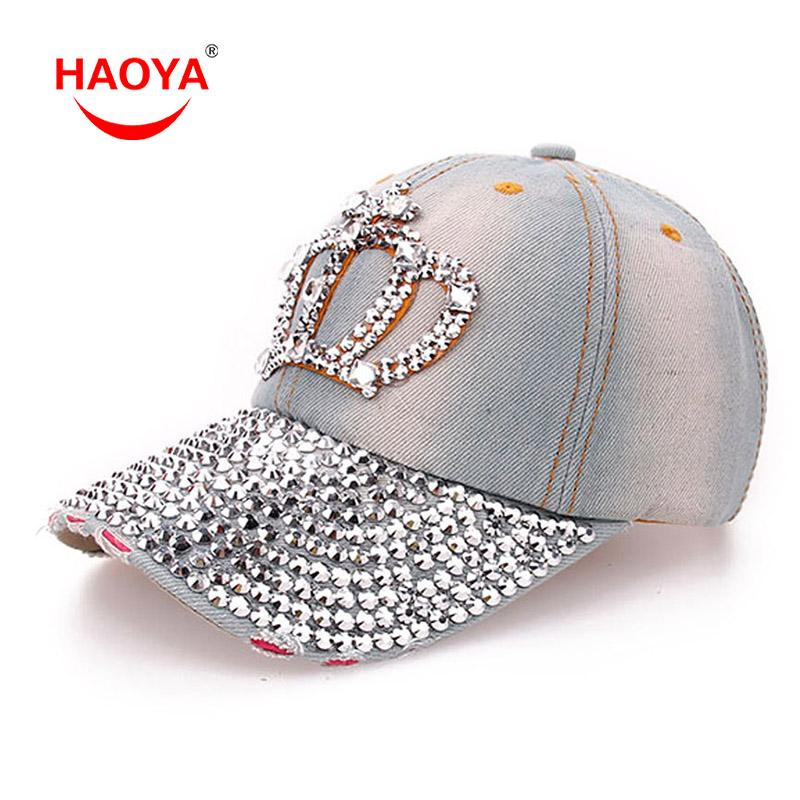 Atacado- HAOYA 1pcs Moda Diamond Point Crown Imperial Denim Caps Boné de Beisebol das Mulheres Meninas Hat Strass Imprimir Frete Grátis 2 Cores