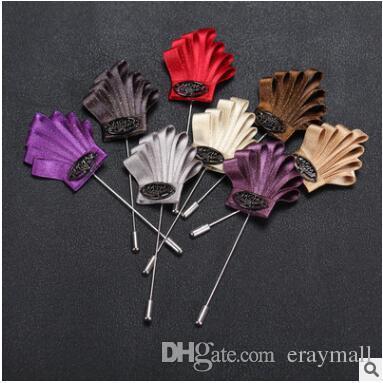 Mens couronne broches broches ruban tissu art stéré couronne couronne corsages broche pour la fête anniversaire cadeaux de noël