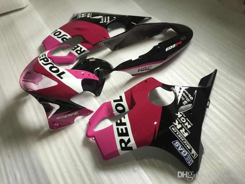 CBR600F4 99 00 설정 혼다 CBR600의 F4에 대한 사출 오토바이 페어링 키트 1999 2000 핑크 블랙 바디 페어링