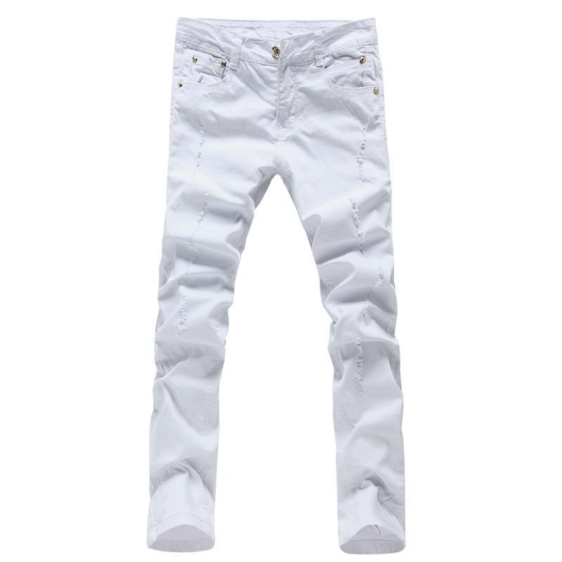 الجملة -2016 الرجال الموضة الترفيه مستقيم الجينز الأبيض الرجال السراويل عالية الجودة 100٪ ٪ الذكور ضئيلة الجينز عارضة السراويل سراويل الرجال