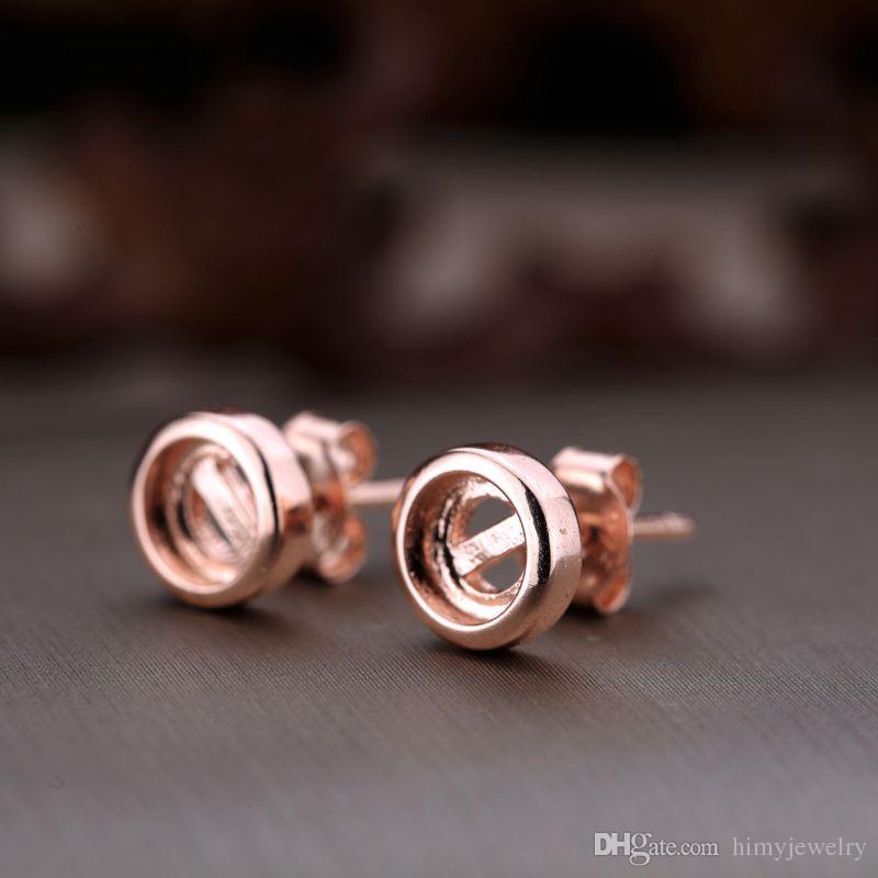 Real Sterling Silver 925 Plated Rose Gold Semi Mount Stadniny Kolczyki dla 5x5mm Okrągły Cabochon Amber Agate Turkusowy Opal Fine Jewelry Ustawienie