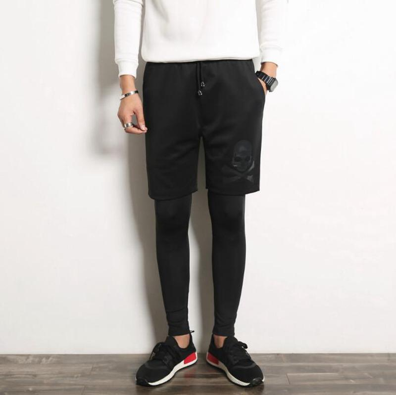Toptan # 2821 2016 Skinny koşucuların Pamuk erkekler Moda erkek Sahte iki parçalı tozluk pantolon Hip hop pantolon Erkekler giyim Erkek joggers tayt
