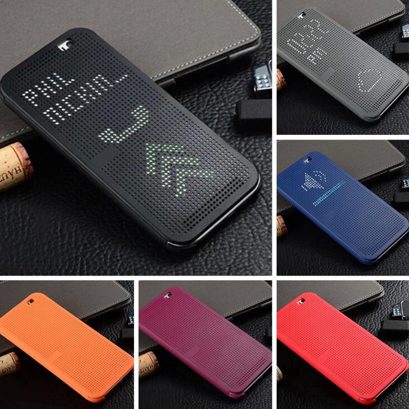 Slim Dot Bag Smart Auto Sleep Wake View Shell Soft Silicone Original Flip Leather Cover Shockproof Case For HTC One M8 M8s / E8