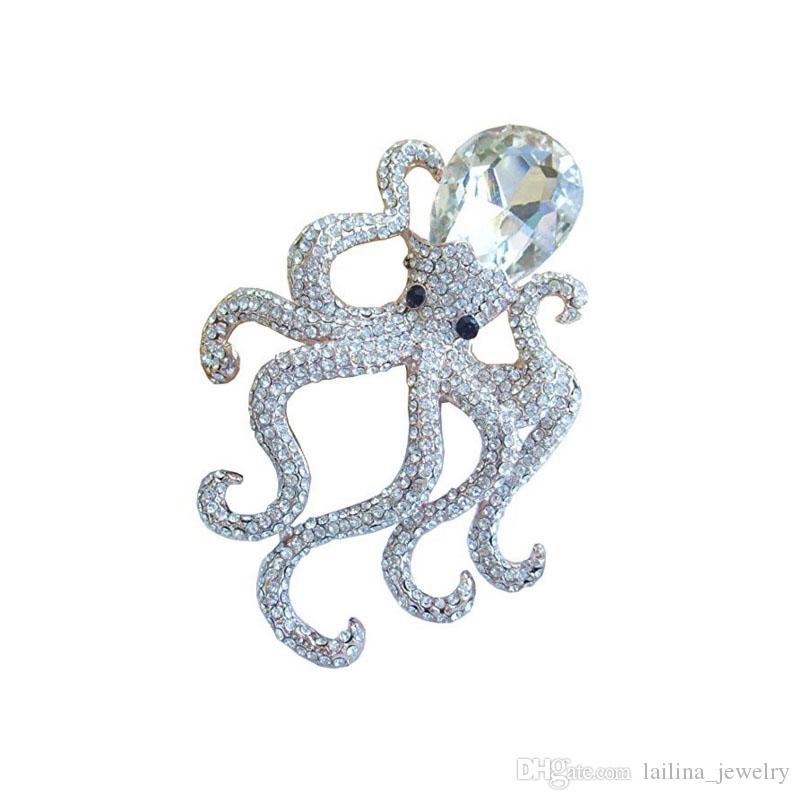 Octopus Animal Brooch Pin Pendant Clear Crystal Brooch Pin Jewelry 55mm