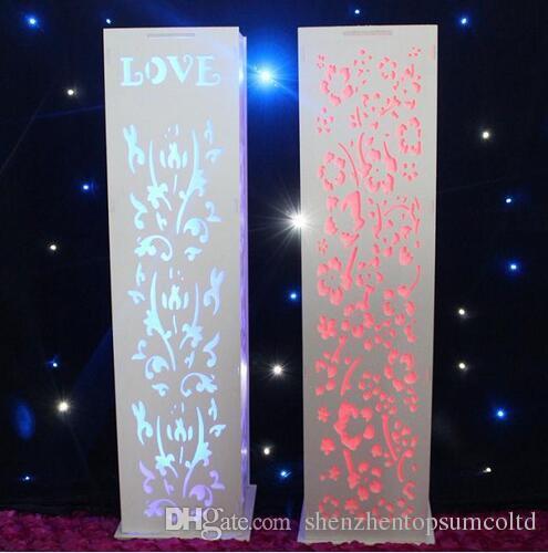 결혼식 t 도로 열 무료 배송 결혼식 장식 웨딩 조각 된 기둥 스탠드 따뜻한 흰색 LED 빛