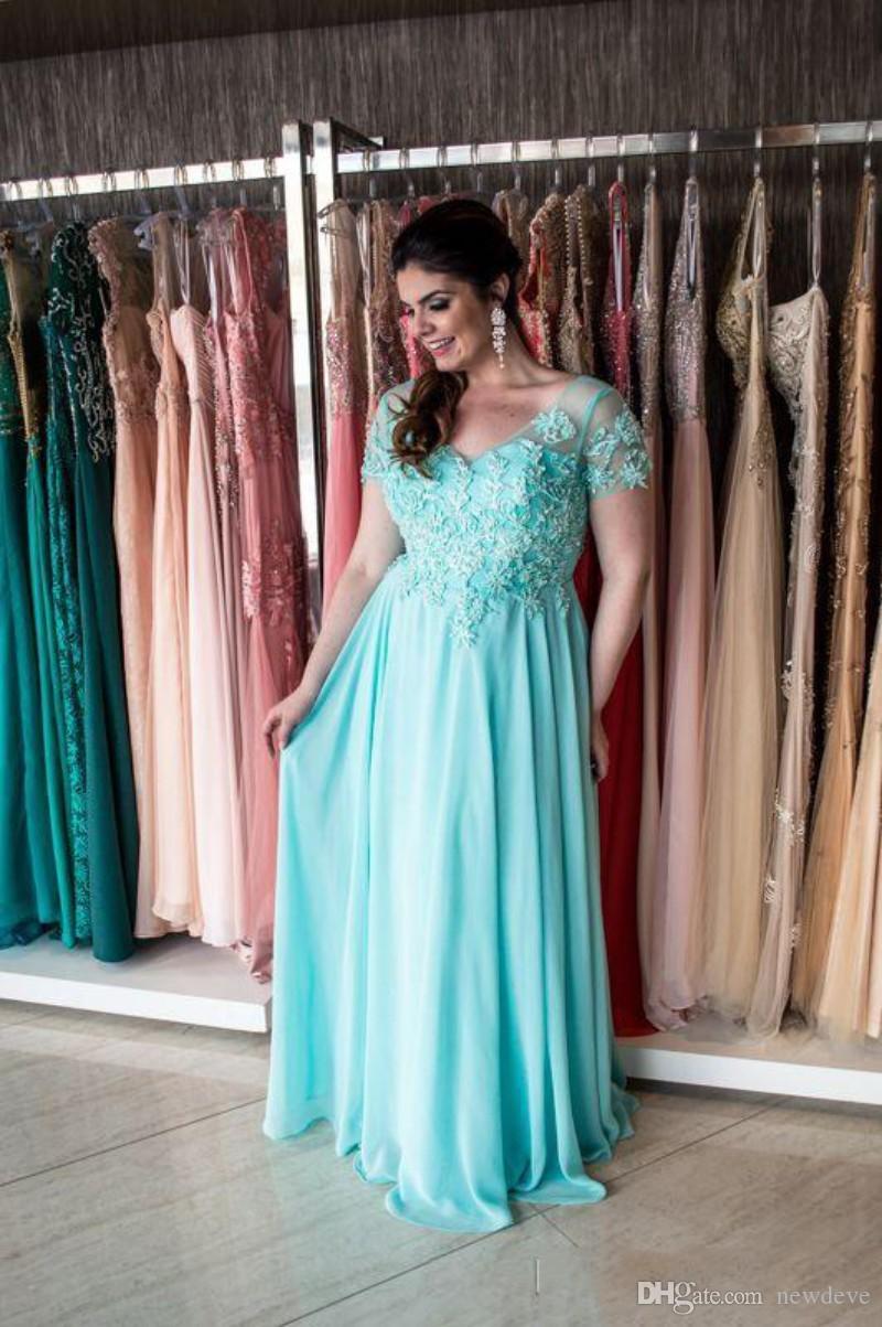 Plus Size Appliques del merletto abito di sera V-Neck una linea Prom Dress del manicotto della protezione di lunghezza del pavimento Abiti Festa