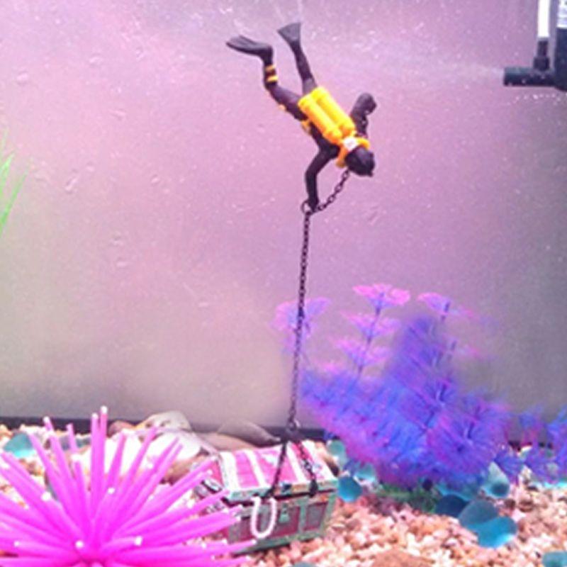 바다 - 보물 액션 수족관 장식품 바다 세계 비밀 드라이버 찾기 물고기 탱크 장식 조경 홈 인테리어 (블랙 오렌지)
