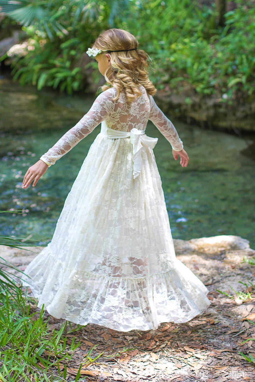 Blumen-Mädchen-Kleid-lvory Spitze-lange Hülsen-Baby-Kleid-Blumen-Mädchen-Kleid-Kleider-