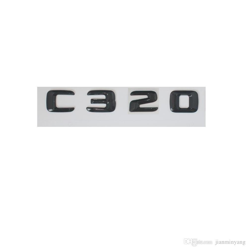 Emblème d'insigne de coffre arrière de lettres du nombre 3D brillant noir pour Mercedes Benz C320