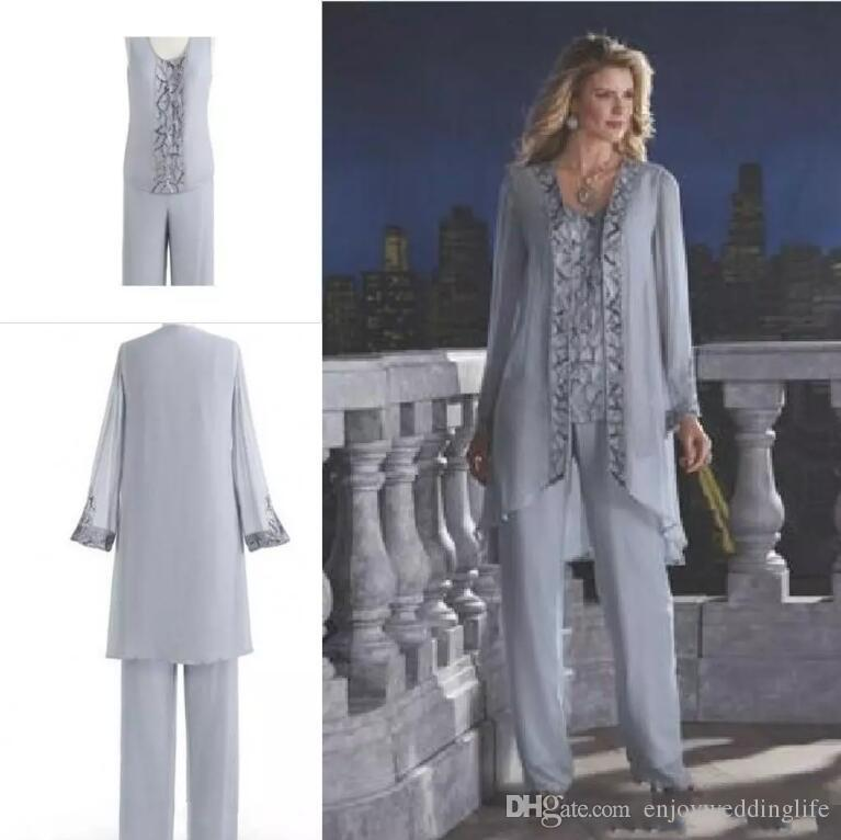 Gray 2019 Mother Of The Bride Three-Piece Pant Suits Chiffon Beach Wedding Mother's Groom Dresses Long Sleeves Wedding Guest Dresses