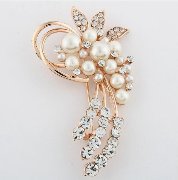 Bijoux de mode Haute Qualité Vintage Broche Broches Autriche Cristaux Imitation Perle Fleur Broche Accessoires de Mariage Livraison Gratuite