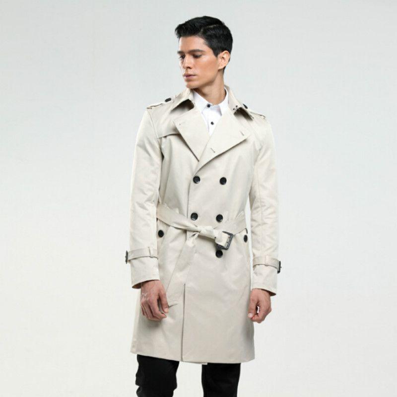 مزدوجة الصدر البازلاء طويلة معطفا ضئيلة معطف الخندق كلاسيكي مناسبا 6XL رجال حجم معطفا العرف خياط انجلترا الرجل كهدايا