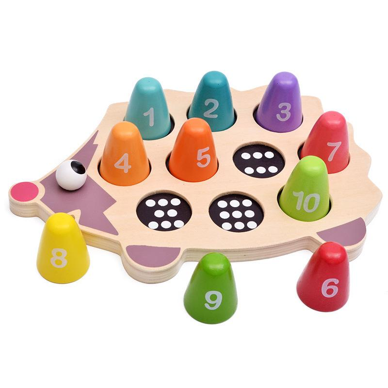 Montessori Toys Learning Toy Christmas Baby Gift,Wooden Toy Pegs Hedgehog Natural Wood Toy Motor Skills Gift for Child