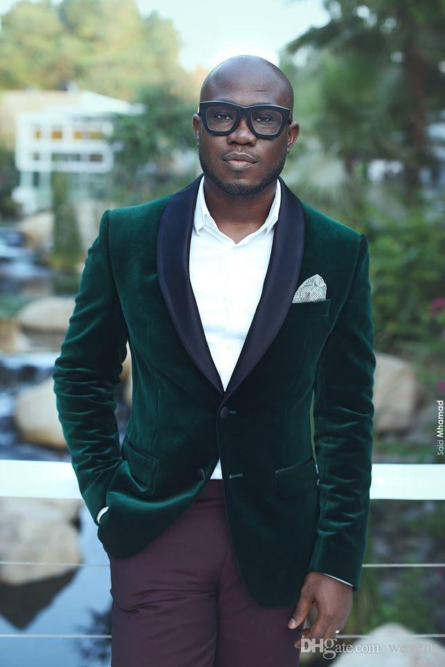 Handsome Hunter Green Wedding Tuxedos Slim Fit Velvet Custom Suits For Men Cheap One Button Groom Suit Only The Jacket