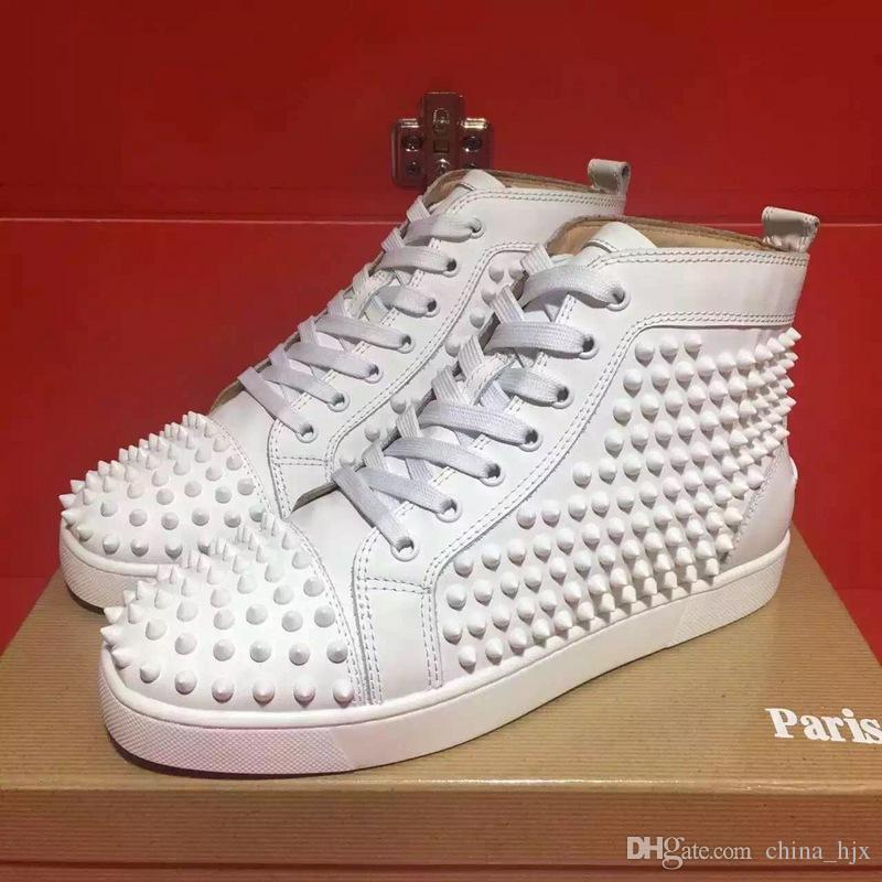 Ücretsiz Kargo menwomen high-end özel hakiki deri beyaz perçin rahat ayakkabılar yüksek top kulübü tasarımcı kırmızı alt sneakers boyutu 36-46