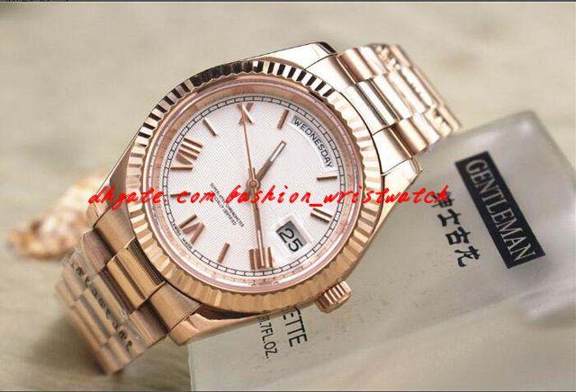 Mode Luxus Herren 218238 II ROSE GOLD 41mm größte größe ungetragen schwarzes Zifferblatt Automatische mechanische Bewegung