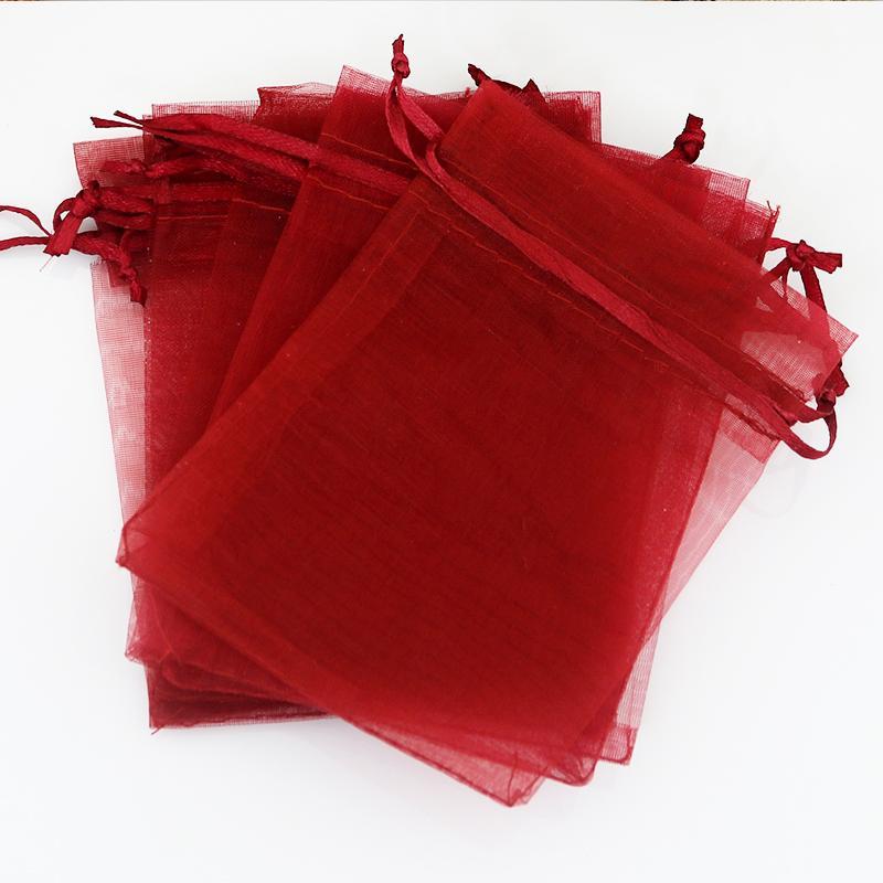 Gros-13x18cm (5.1 « x7.08 ») 500pcs / lot noir Sac organza rouge bijoux de mariage Sac d'emballage mignon Pouches Organza Sacs cadeaux