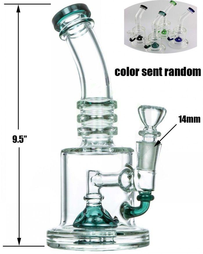 """HALF EGG FAB PERC ACQUA TUBO 9.5"""" nuovo Desigh spessi bong vetro collo piegato acqua di vetro di colore bong"""