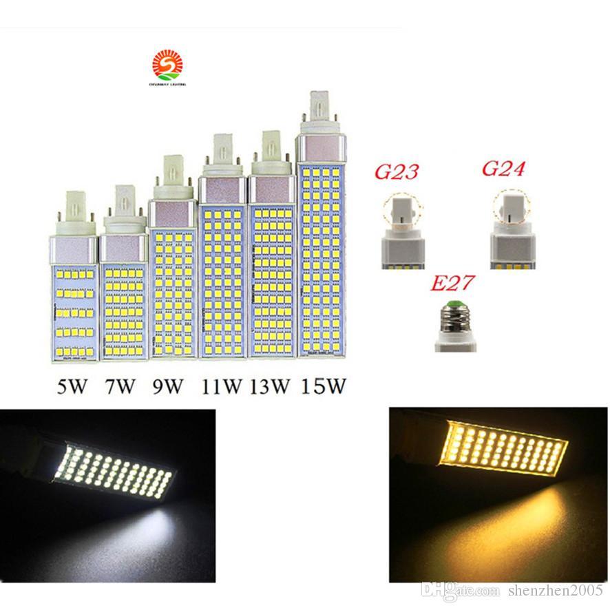 SMD 5050 Horizontal Plug lights E27 G24 G23 led corn bulb 180 degeree AC85-265V 5W 7W 9W 11W 13W led lighting Indoor lamp