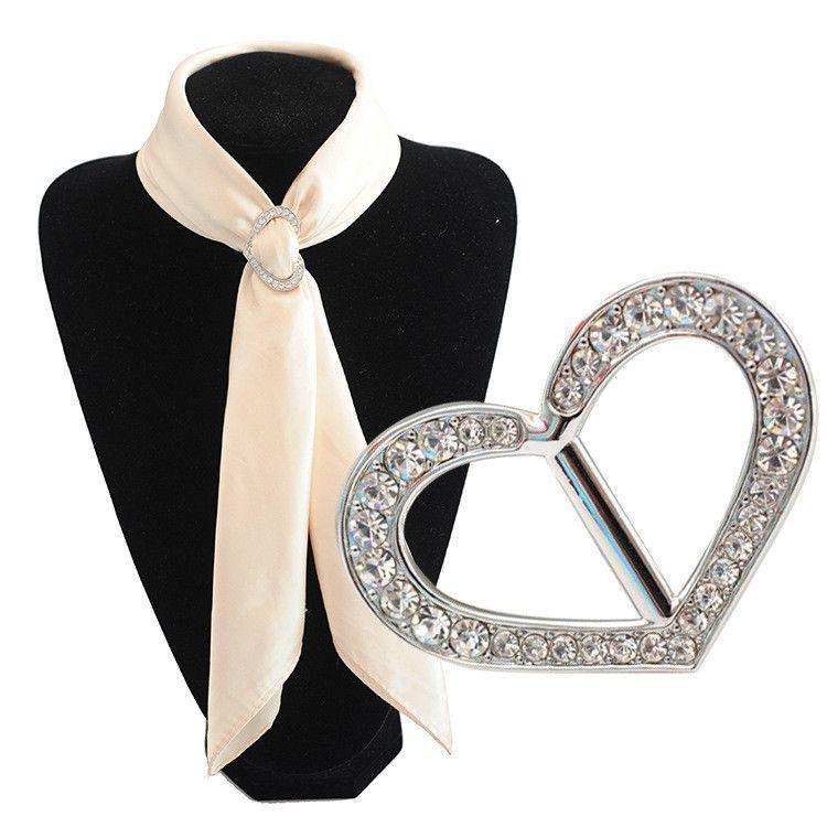 2pcs / lotHight 품질 심장 실크 스카프 버클 로즈 여자 여자 선물 스카프 보석에 대 한 골드 실버 크리스탈 도매