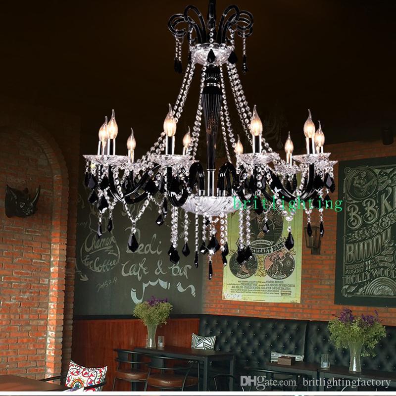 Avrupa tarzı Fransız villa yatak odası siyah mum kristal avize yaratıcı oturma odası yatak odası kama tipi restoran kristal kolye lamba