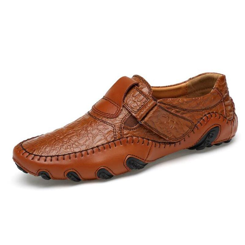New Design 2017 Spring Summer Men Flat Shoes Soft Genuine Leather Male Moccasin Driving Loafers Shoes Soft Leather Crocodile Men Shoes
