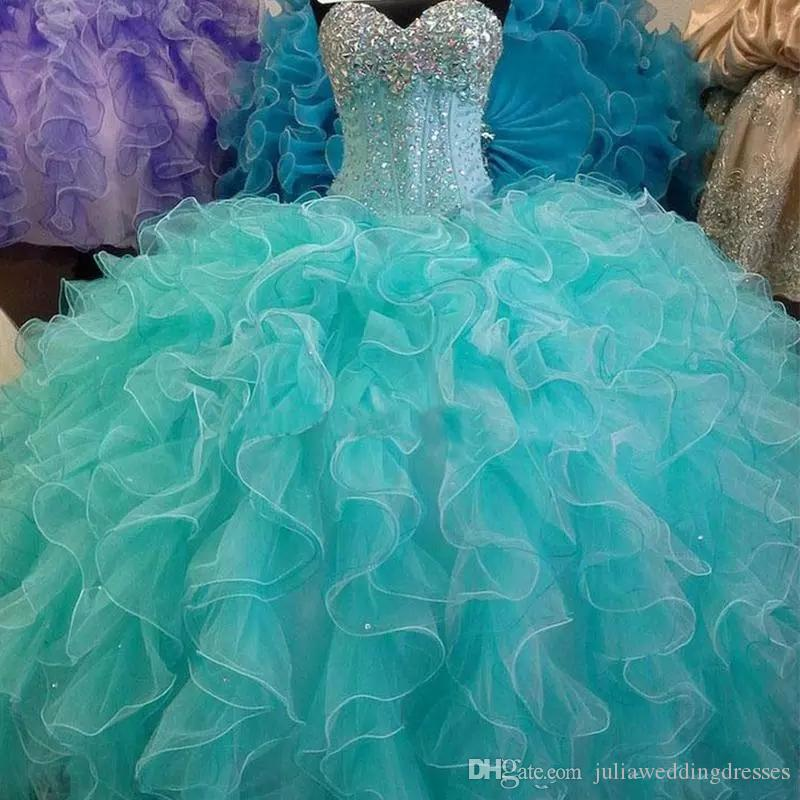 Turquoise Ball Gown Quinceanera Dresses with Crystals Beaded Sweet 16 Pageant Prom Party Gowns Vestido De Festa BM73
