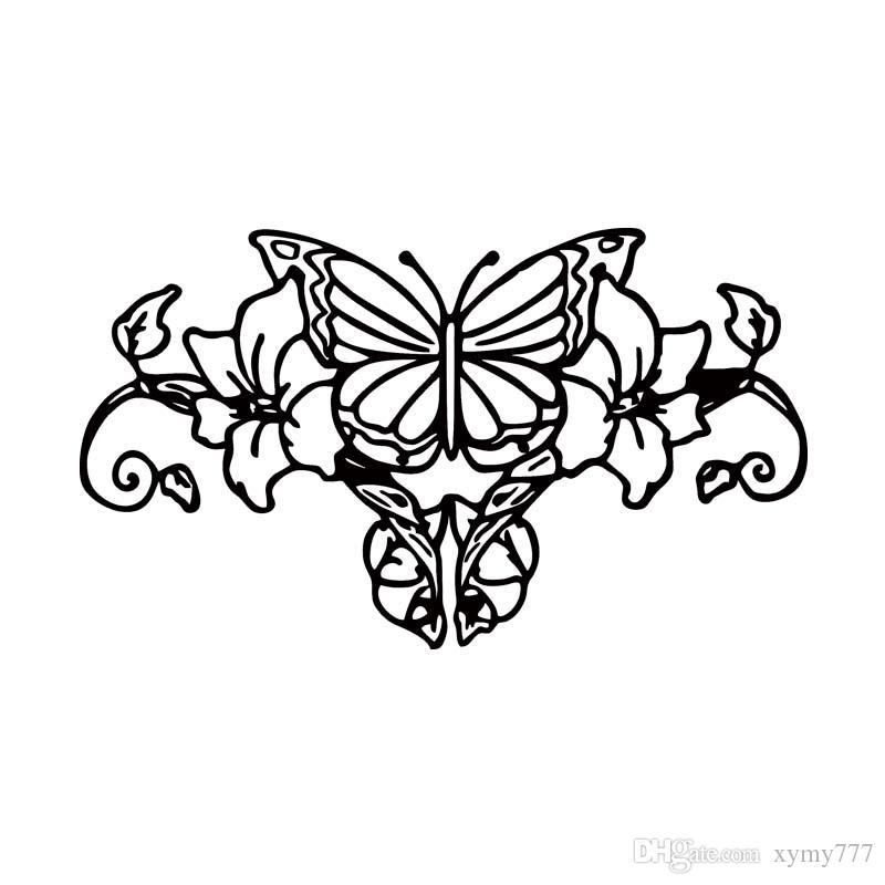Butterfly with Flowers Design Fun window Bumper Vinyl Decal JDM Sticker 7CMx18CM