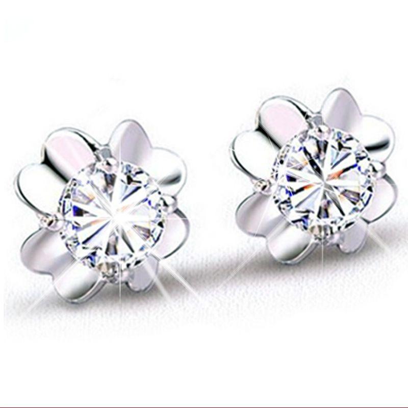 Hot atacado mulher de prata brinco charme romântico simples cristal puro brincos de trevo claro 925 jóias esterlinas