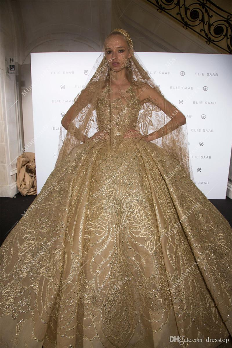 Großhandel Luxus Elie Saab Spitze Ballkleid Brautkleider Sheer Jewel ...