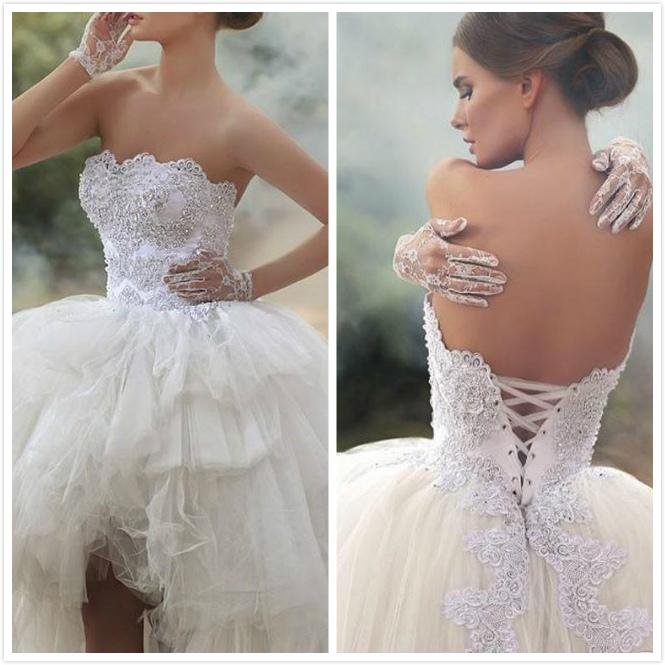 Hi Lo Ball Gown Wedding Dresses Strapless Beaded Lace Appliques ...