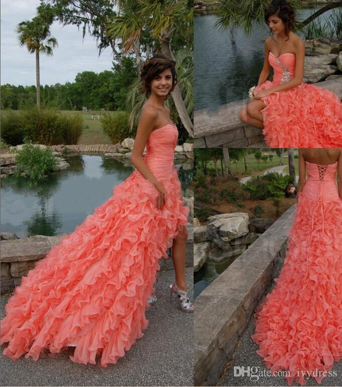 Peach Colored Frilly Prom Dresses