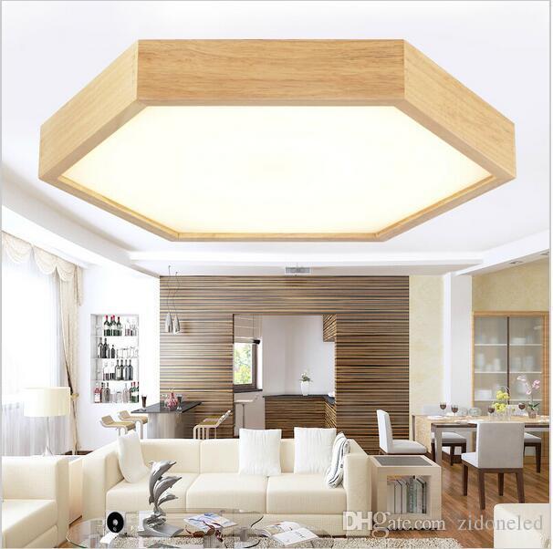 Moderna madeira minimalista levou luzes de teto hexágono montagem embutida luzes de teto embutidos iluminação luminárias led interior luminárias