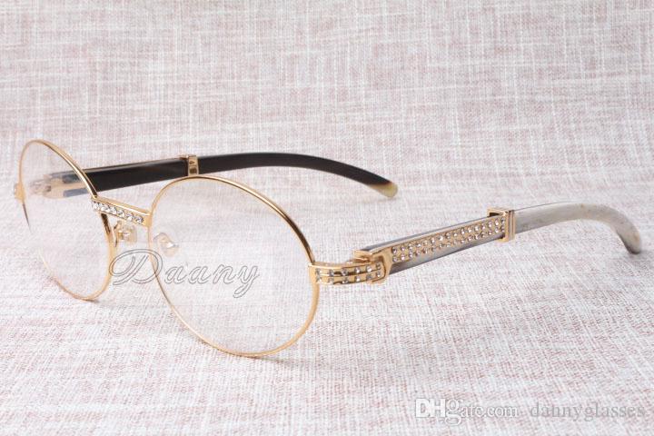 2017 yeni retro moda üst seviye Diamond karışık renk Sığır boynuzları erkek ve dişi optik gözlük için T7550178 gözlük, boyut: 57-22-135mm