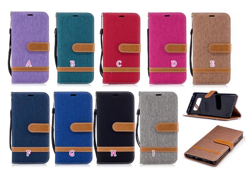 Jean Hybrid Leather Wallet Case para Iphone 11 2019 XR XS MAX X 8 7 6 6S Galaxy Note 10 9 8 Soporte de tela Soporte Hit Color TPU Ranura para tarjeta Flip