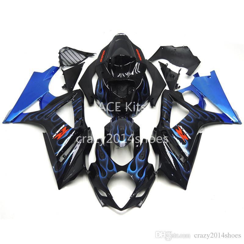 5 regali gratuiti Nuovi Kit carena motore ABS 100% adatto per SUZUKI GSXR1000 K7 2007-2008 GSXR 1000 K7 07-08 blu fiamma nero Articolo no.230