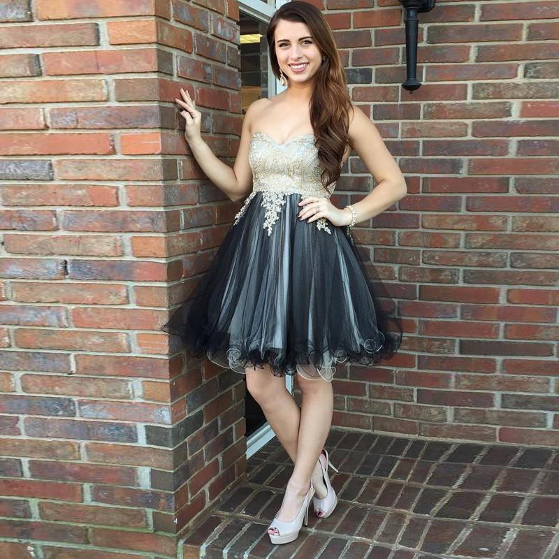 Czarny Srebrny Krótkie Suknie Homecoming Sweetheart Aplikacje Koronki Tulle Custom Made Short Prom Dresses Cocktail Sukienki Lace Up